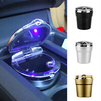 Practical Car Ashtray LED Cigarette Ash Holder Cup with Lid Smoke Remove 3 Color