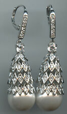 MICRO PAVED SPARKLING RUSSIAN CZ & 11MM FAUX PEARL LEVERBACK EARRINGS