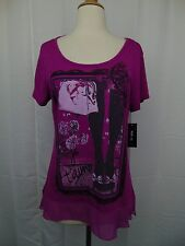 Style & Co Petite Embellished Graphic Printed Tee Bows N' Tights PL Pink #3478