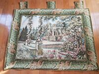 """Vintage TAPESTRY WALL HANGING 44"""" x 38"""" French Chateau Made by Sea Gull"""