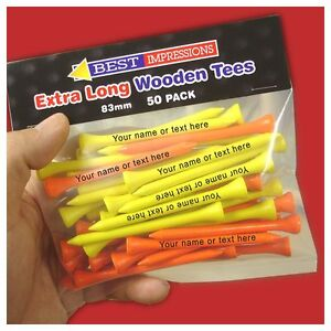 Golf Tees Personalised 83mm Wooden Tees - 50 PACK - extra long & thick