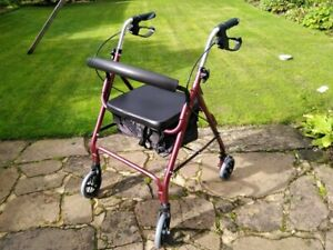 4 Wheel Lightweight Rollator (disabled walker with seat and shopping carrier)