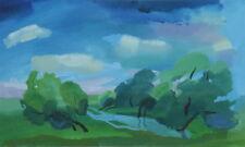 Vintage gouache painting forest landscape