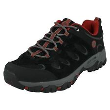 Mens Merrell Ridgepass Lace up Suede Black/red Outdoor Walking Hiking Shoes UK 11.5