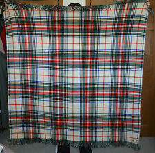 Wool Blanket Tartan Plaid Unbranded Thick EUC  Green Red Black Blue Cream
