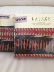 Ralph Lauren 2 Standard Shams Heritage Quilted Batik NEW Discontinued Pattern