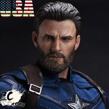 1/6 Captain America Head w/ Beard Chris Evan For Hot Toys PHICEN ❶USA IN STOCK❶
