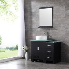 "Bathroom Vanity 36"" Mdf Wood Cabinet Ceramic Vessel Sink Glass Top w/Mirror Set"