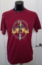 Rune Dragon with Sword Off World Designs 2005 Dark Red T Shirt Large Rare