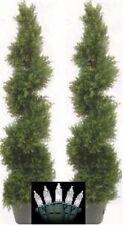 "2 TOPIARY 64"" OUTDOOR ARTIFICIAL CYPRESS TREE 5' 4"" CHRISTMAS LIGHT CEDAR SPIRAL"