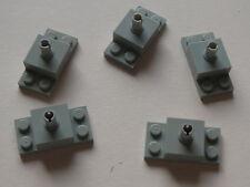 Lego 5 briques avec pin gris clair 7317 4404 / 5 old light gray brick w/ top pin