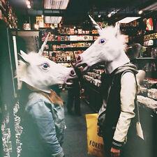 Unicorn Horse Head Latex Rubber Mask Panto Creepy Fancy Dress Costume Halloween