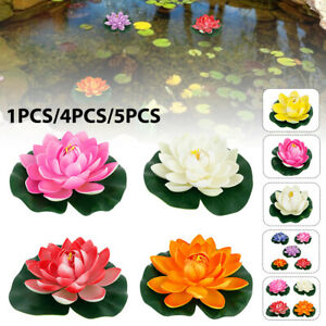 18cm Artificial Water Lily Lotus Flowers Real Touch Floating Plant Swimming Pool