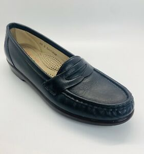 SAS Classic Navy Leather Slip On Penny Loafers Comfort Shoes Tripad 6.5 S USA