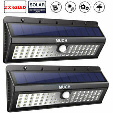 2 x Solar Power Sensor Wall Light 62 LED Ultra Bright Wireless Outdoor Home Lamp