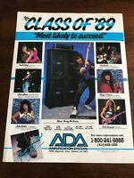 1990 VINTAGE 8X11 PRINT Ad FOR ADA AMPS CLASS OF 89 KIRK HAMMETT,PAUL GILBERT