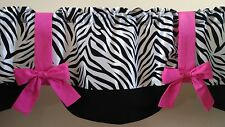 "Zebra Hot Pink Girls Bedroom Teen Handmade Window Curtain Valance 54"" Width"