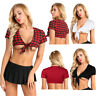 Women Schoolgirl Deep V Plunge Bolero Crop Tops Shrug T Shirt Blouse Costume AU