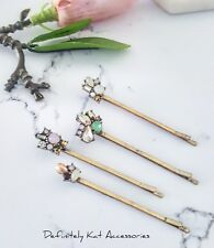 Stunning gold rainbow crystal & pearl cluster hair pin accessories. Set of 4