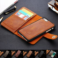 for iPhone 6 7 Plus Leather Removable Wallet Magnetic Flip Card Slot Case Cover