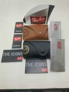 Ray Ban Sunglasses Leather Style SLIM Case w/ Booklets Medium