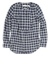 LOFT Women's - NWT$59 - Oversized Navy Plaid Henley-Bib Woven Tunic Top