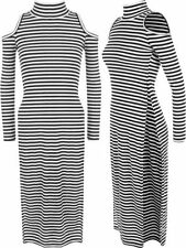 Polyester Stripes Dresses for Women with Slit