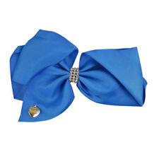 "Wedding Flower Girls School Girls Large 4.5"" Navy Blue Hair Bow Clip Long Tails"