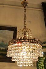 Antique Vnt.French BASKET style REAL Swarovski Crystal Chandelier Light LAMP