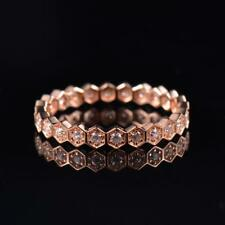 Natural Diamond Wedding Engagement Bee Love Band Women Ring Solid 14K Rose Gold