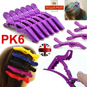 6pcs Matte Sectioning Clips Clamps Hairdressing Salon Hair Grip Crocodile Clips