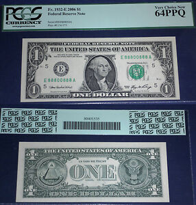 1932 -E $ 1Federal Reserve Note ,Virginia,88800888 LUCKY NUMBERS, PCGS  64 EPQ