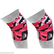 "Aqwa Knee Wraps Power Sollevamento Pesi Palestra cinghie bendaggio Guardie 78"", mimetico Rosa"