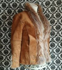 Paparazzi Women's S Brown Camel Coat Paisley Faux Fur Trim Claw Tooth buttons