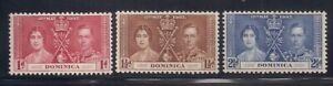 Dominica   1937   Sc #94-96   Coronation   MLH   OG   (5014-)