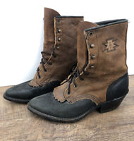 Women Leather Brown Lace Up Soletech Roper Boots Sz 6 M Distressed Western VTG