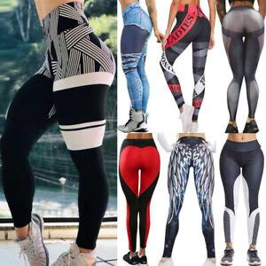 Women's Push Up Leggings Yoga Pants High Waist Sports Fitness Gym Print Trousers