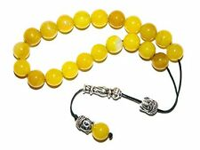 B-0225 - Loose String Greek Komboloi Prayer Worry Beads 10mm Yellow Agate
