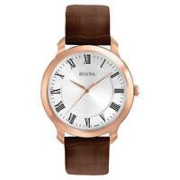 Bulova Men's Classic Quartz Rose Gold Tone Case Silver Dial 41mm Watch 97A107