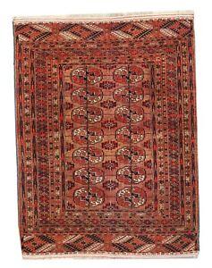 Antique Tekke Turkmen handmade wool rug light brown colour 4 x 3 FT