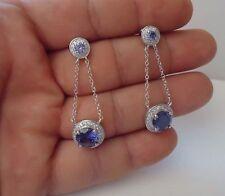 & Tanzanite / 925 Sterling Silver Dangling Earrings W/ 8 Ct Lab Diamonds