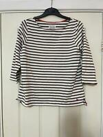 Jack Wills White Brown T-Shirt Size Large Womens Long Sleeve (H963)
