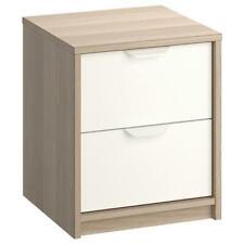 2 Cassettiera comodino IKEA ASKVOLL 2 cassetti effetto rovere mordente Bianco