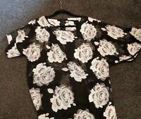 Stunning Tiffany Treloar Vintage Silk Dress Black Roses size 1 feature sleeves
