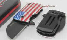 S-TEC USA American Flag Mini Spring Assisted Money Clip/Boot/Pocket Knife NEW