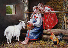 VERY RARE Country idyll girls goat rooster by Vaveykin Russian modern postcard