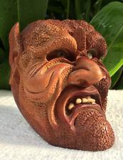 Head of Devil Satan Wood Hand carved Evil Skull Wood Gothic Odditie Detailed