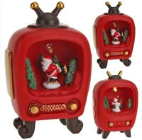 Christmas Decoration In Tv Set With Led Light Reindeer Snowman Santa