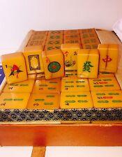 Vtg Chinese Amber Resin Apple Juice Crackle Mahjong Set