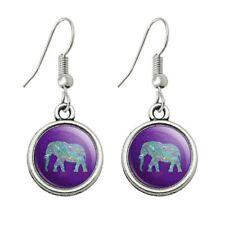 Drop Charm Earrings Mosaic Elephant Novelty Dangling